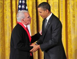 Prsident Obama awards Teofilo Ruiz a National Humanities Medal in Washington