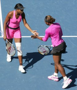 Women's double finals match at the US Open Tennis Championship in New York