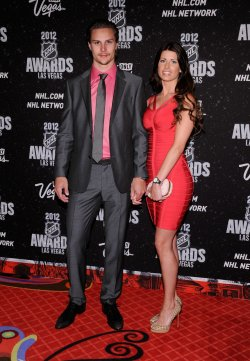 Erik Karlsson and Therese Karlsson arrive at the 2012 NHL Awards in Las Vegas