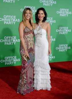 """Jennifer Aniston and Olivia Munn attend the """"Office Christmas Party"""" premiere in Los Angeles"""