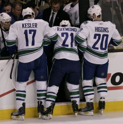 Canucks Raymond injured in game 6 of the NHL Stanley Cup Finals in Boston, MA.