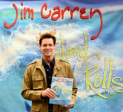 "Jim Carrey signs copies of ""How Roland Rolls"" in Los Angeles"