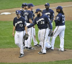 Brewers pitcher Greinke taken out of game during NLCS in Milwaukee, Wisconsin