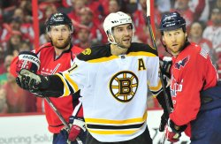 Bruins Patrice Bergeron reacts in Washington