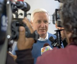 Pennyslvania gubernatorial candidate Tom Corbett makes a campaign stop in Levittown, Pa.
