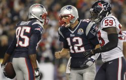 Patriots Brady and Lloyd celebrate touchdown against Texans at Gillette Stadium in Foxborough, MA