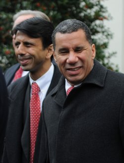 New York Gov. Paterson speaks to the media at the White House in Washington.