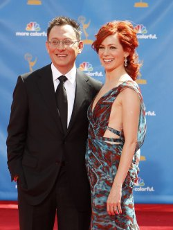 Carrie Preston and her husband Michael Emerson arrive at the 62nd Primetime Emmy Awards at the Nokia Theatre