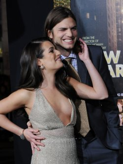 "Lea Michele and Ashton Kutcher attend the ""New Year's Eve"" premiere in Los Angeles"