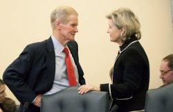 Sen. Bill Nelson (D-FL) and Sen. Kay Bailey Hutchison (R-TX) talk in Washington, D.C.
