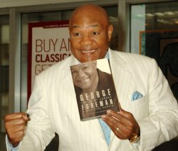 """GEORGE FORMAN PROMOS HIS NEW BOOK:""""GOD IN MY CORNER"""" IN NEW YORK"""