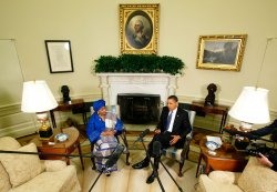President Obama Holds Bilateral Meeting With President Sirleaf Of Liberia