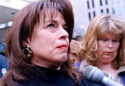 Teary-eyed Marsha Kight (CQ) speaks about the closure of the Oklahoma City Bombing trial