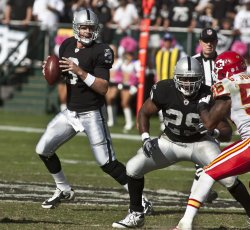 Raiders Kyle Boller intercepted three times by the Chiefs in 28-0 loss in Oakland, California