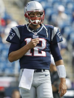 Patriots Brady before game against Cardinals at Gillette Stadium in Foxboro, MA