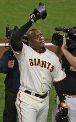 SAN FRANCISCO GIANTS BARRY BONDS HITS NUMBER 756