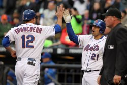 New York Mets Jeff Francoeur and Rod Barajas at Citi Field in New York
