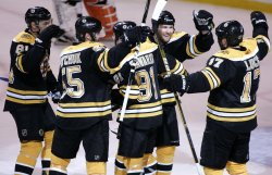 Bruins celebrate goal against Flyers in Game 7 of the NHL Eastern Conference Semi-Final in Boston, MA.