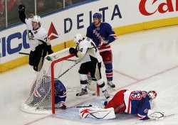 Pittsburgh Penguins Evgeni Malkin reacts after scoring a goal at Madison Square Garden in New York