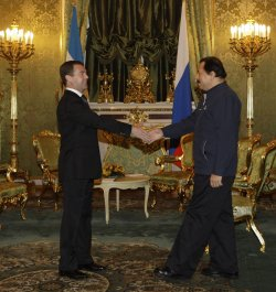 Russian President Medvedev meets with Nicaraguan President Ortega in Moscow