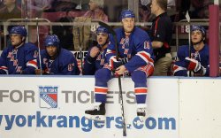 New York Rangers Sean Avery sits and waits for play to resume in the second period against the Atlanta Thrashers at Madison Square Garden