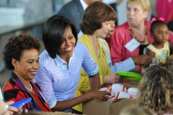 First Lady Michelle Obama attends service event in Washington