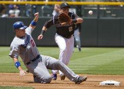 Dodgers Ellis Avoids Double Play by Rockies Tulowitzki in Denver