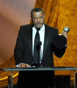 Actor Laurence Fishburne accepts the Outstanding Actor in a Television Movie, Mini-Series or Dramatic Special for 'Thurgood' onstage arrives at the 43rd NAACP Image Awards in Los Angeles