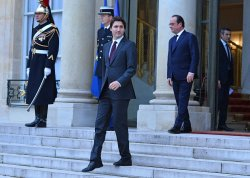 Justin Trudeau Leaves Elysee in Paris After Security and Climate Talks
