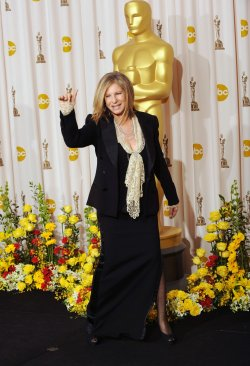 Barbara Streisand appears backstage at the Academy Awards in Hollywood