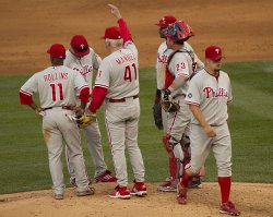 Phillies Manager Manuel Relieves Pitcher Blanton in Denver