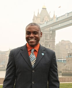 Carl Lewis at London 2012 Olympics photocall.