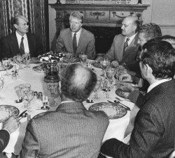 Jimmy Carter has lunch with Middle East Peace Negotiating team at Blair House