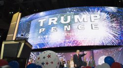 Trump points to delegates at the GOP convention in Cleveland