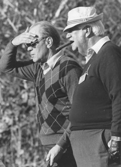 Tip O'Neill and Gerald Ford at the Bob Hope Desert Classic golf event