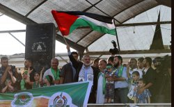 Palestinians Hamas Supporters Celebrate in Gaza