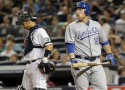 Kansas City Royals Billy Butler reacts after striking out at Yankee Stadium in New York