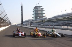 Front row drivers for the 97th Indianapolis 500 at the Indianapolis Motor Speedway