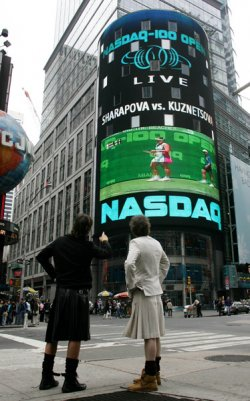 THE NASDAQ 100 OPEN BRODCAST IN TIMES SQUARE