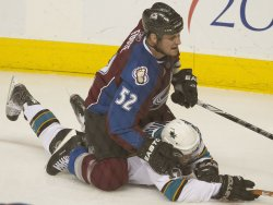 Avalanche's Foote Takes Down Sharks Mitchell in Game Three in Denver