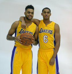 D'Angelo Russell and Jordan Clarkson participate in Lakers' media day in El Segundo