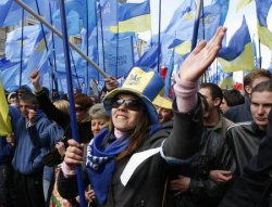 SUPPORTERS OF RIVAL POLTICAL PARTIES RALLY OUTSIDE THE CONSTITUTIONAL COURT IN KIEV