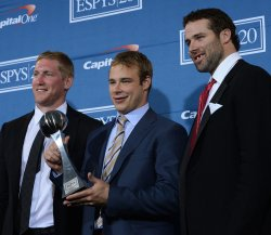 Matt Greene, Dustin Brown and Dustin Penner appear backstage at the 2012 ESPY Awards in Los Angeles