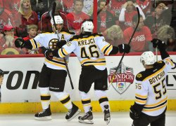 Boston Bruins celebrate with Andrew Ference in Washington