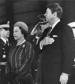 President Reagan and Queen Elizabeth During Arrival Ceremony