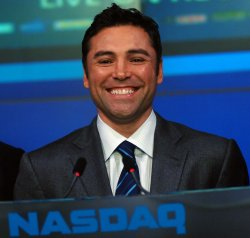 Oscar de la Hoya visits the NASDAQ in New York
