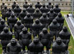 Large sculptures adorn a courtyard in Beijing