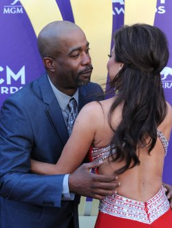 Musician Darius Rucker and Robin Meade at the Academy of Country Music Awards in Las Vegas