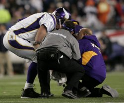 Vikings Favre injured against Patriots at Gillette Stadium in Foxboro, MA.