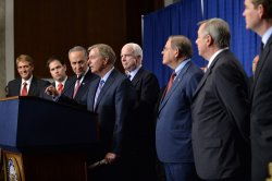 Senators hold a Press Conference on Immigration Reform in Washington